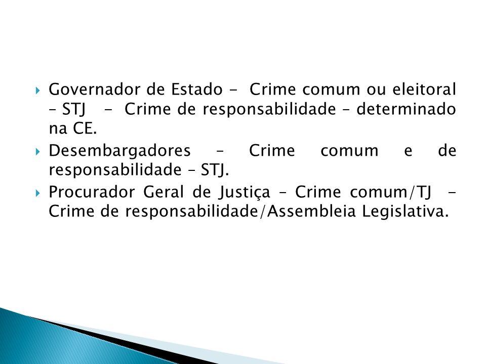 Governador de Estado - Crime comum ou eleitoral – STJ - Crime de responsabilidade – determinado na CE. Desembargadores – Crime comum e de responsabili