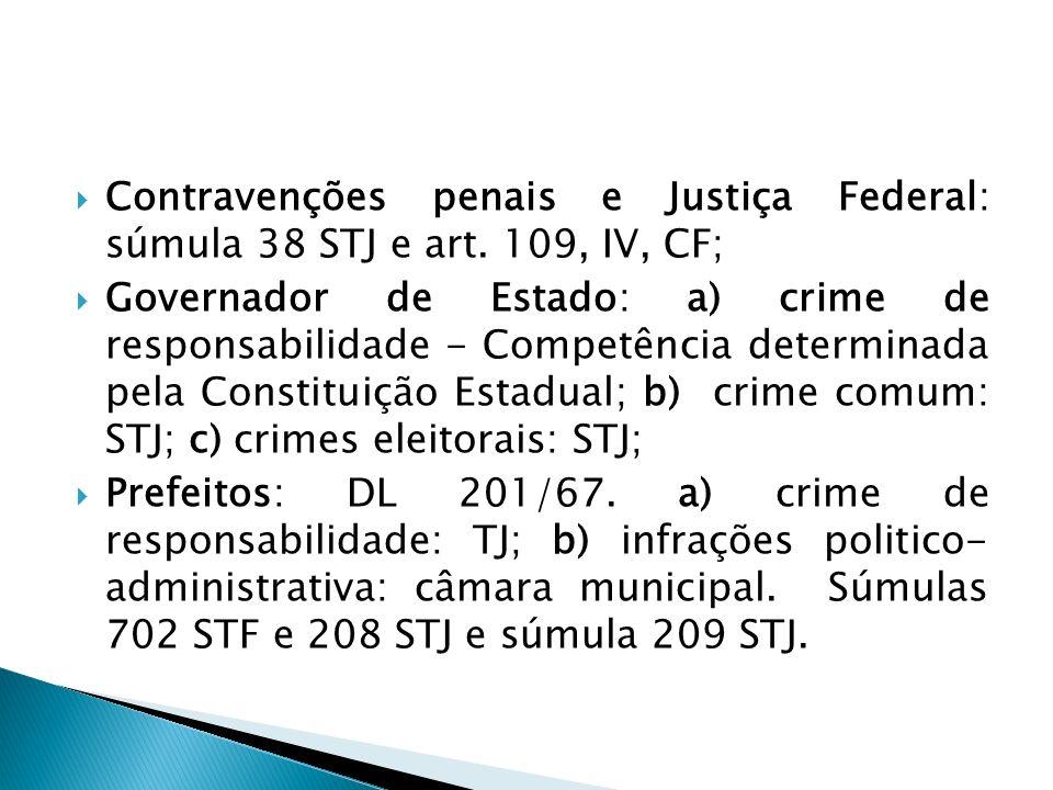 Contravenções penais e Justiça Federal: súmula 38 STJ e art. 109, IV, CF; Governador de Estado: a) crime de responsabilidade - Competência determinada