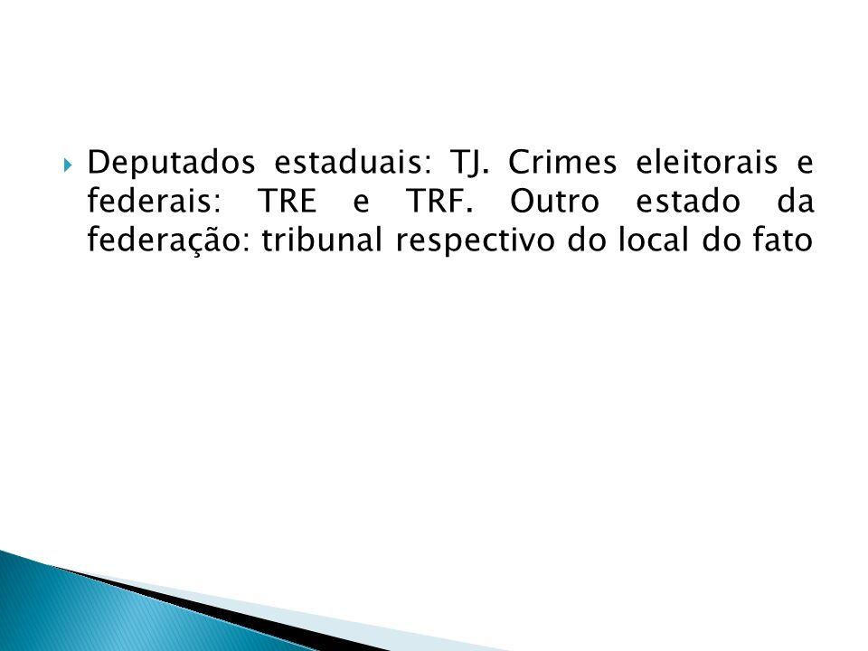Deputados estaduais: TJ. Crimes eleitorais e federais: TRE e TRF. Outro estado da federação: tribunal respectivo do local do fato