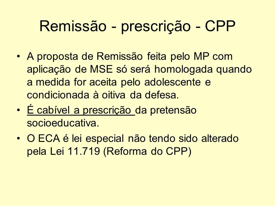 Remissão - prescrição - CPP A proposta de Remissão feita pelo MP com aplicação de MSE só será homologada quando a medida for aceita pelo adolescente e