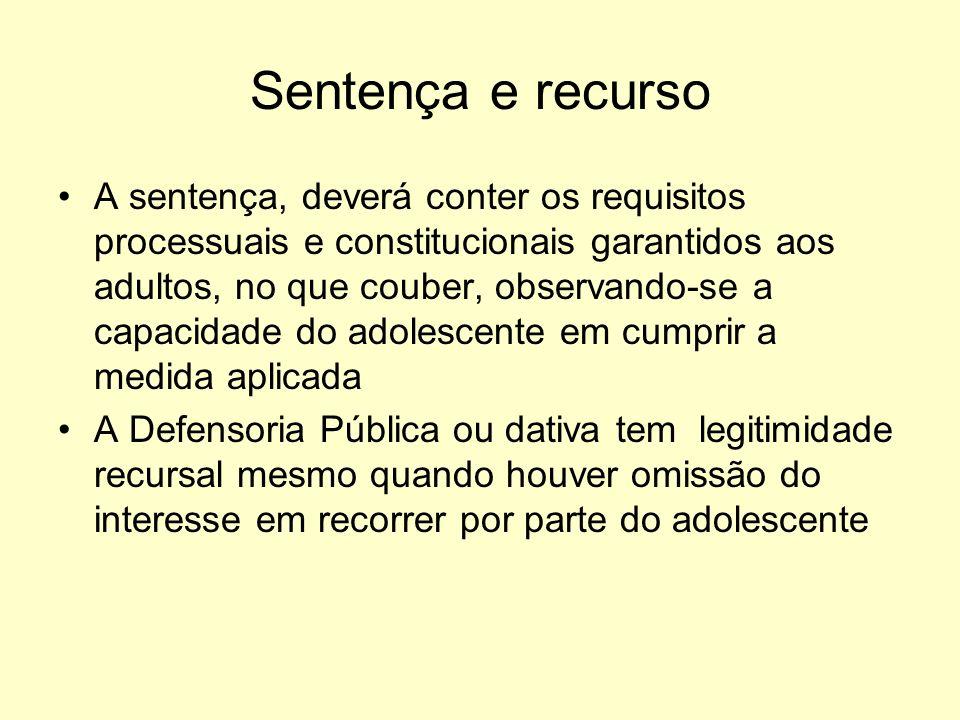 Sentença e recurso A sentença, deverá conter os requisitos processuais e constitucionais garantidos aos adultos, no que couber, observando-se a capaci