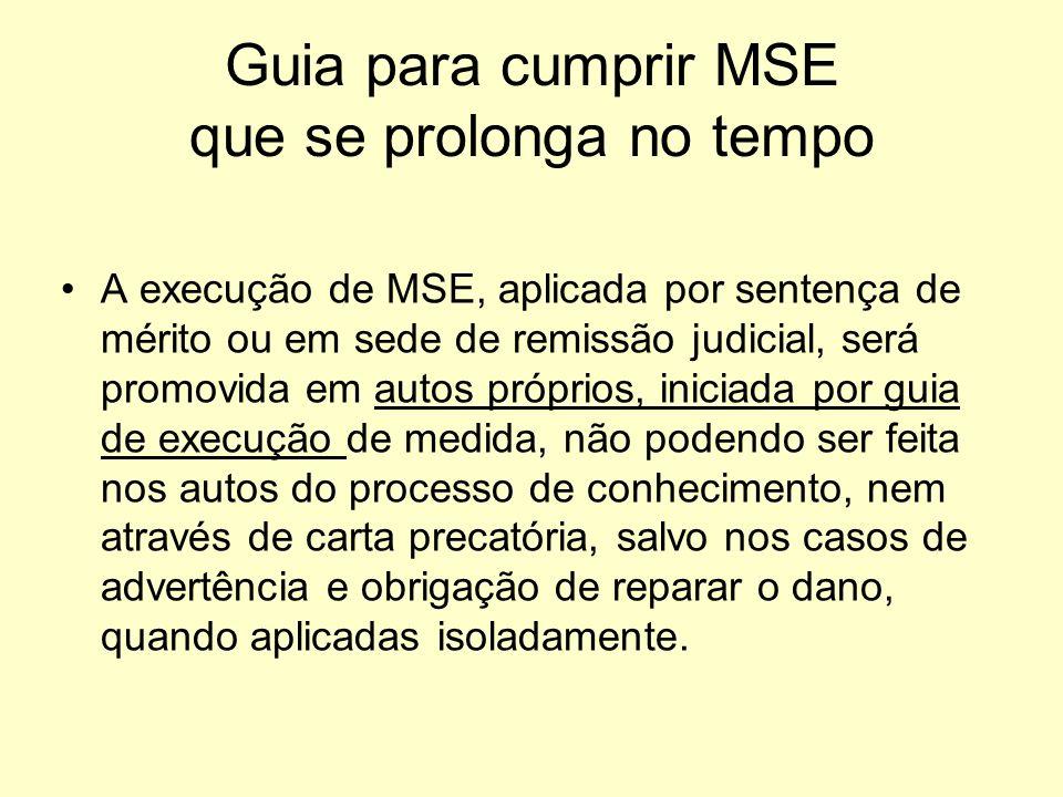 Guia para cumprir MSE que se prolonga no tempo A execução de MSE, aplicada por sentença de mérito ou em sede de remissão judicial, será promovida em a