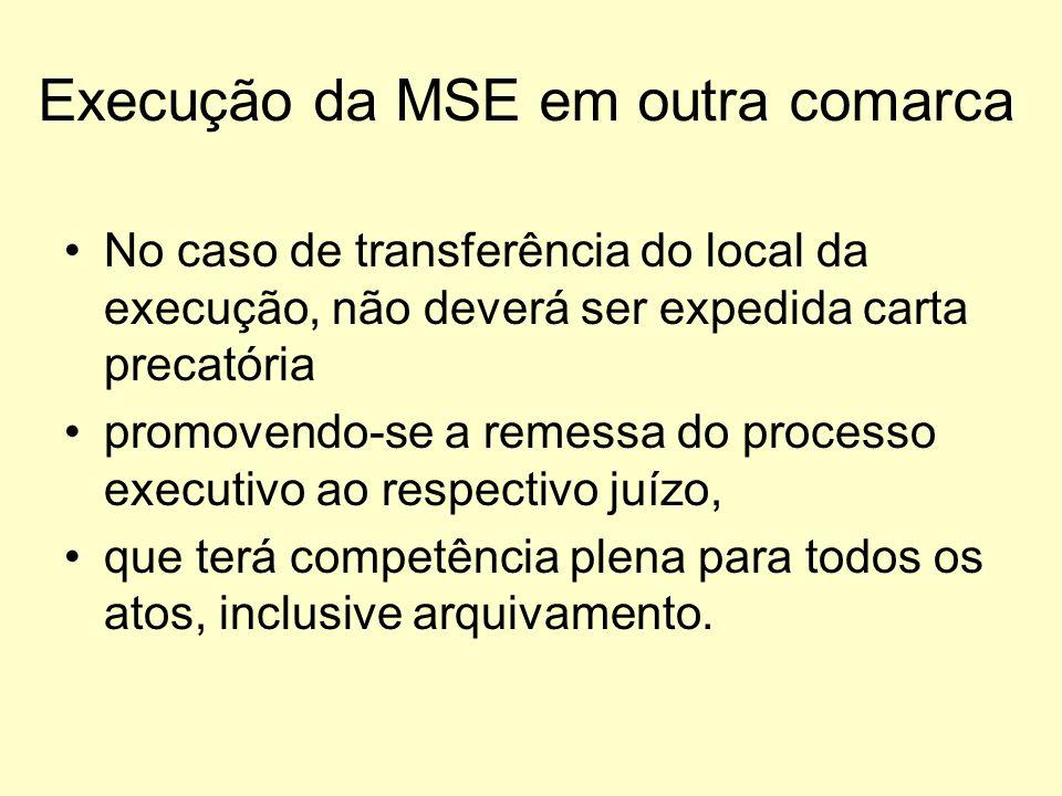 Execução da MSE em outra comarca No caso de transferência do local da execução, não deverá ser expedida carta precatória promovendo-se a remessa do pr