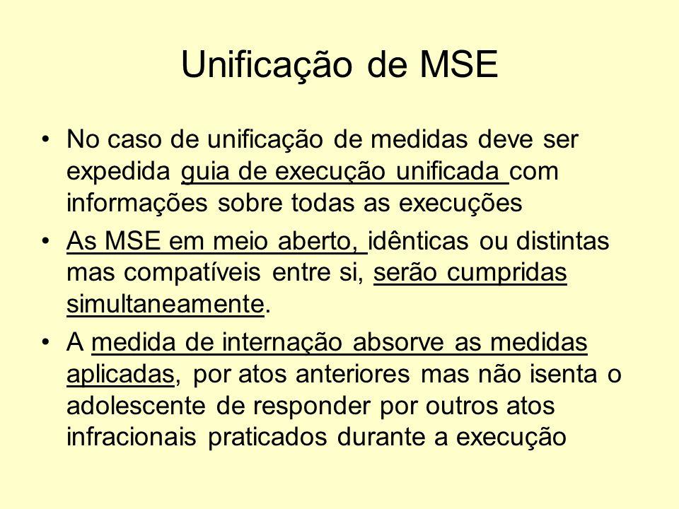 Unificação de MSE No caso de unificação de medidas deve ser expedida guia de execução unificada com informações sobre todas as execuções As MSE em mei