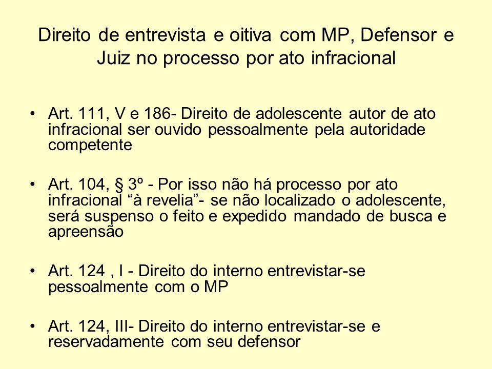 Direito de entrevista e oitiva com MP, Defensor e Juiz no processo por ato infracional Art. 111, V e 186- Direito de adolescente autor de ato infracio
