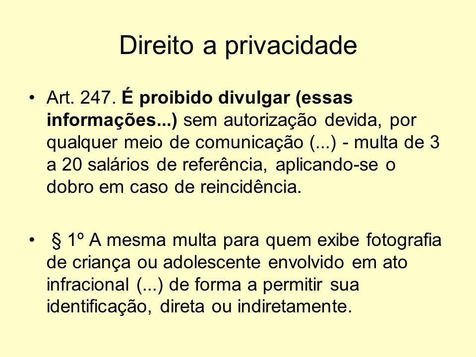 Direito a privacidade Art. 247. É proibido divulgar (essas informações...) sem autorização devida, por qualquer meio de comunicação (...) - multa de 3