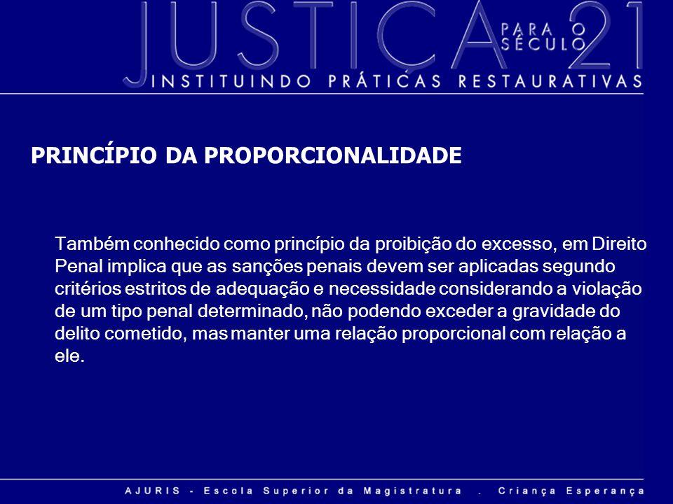PRINCÍPIO DA PROPORCIONALIDADE Também conhecido como princípio da proibição do excesso, em Direito Penal implica que as sanções penais devem ser aplic