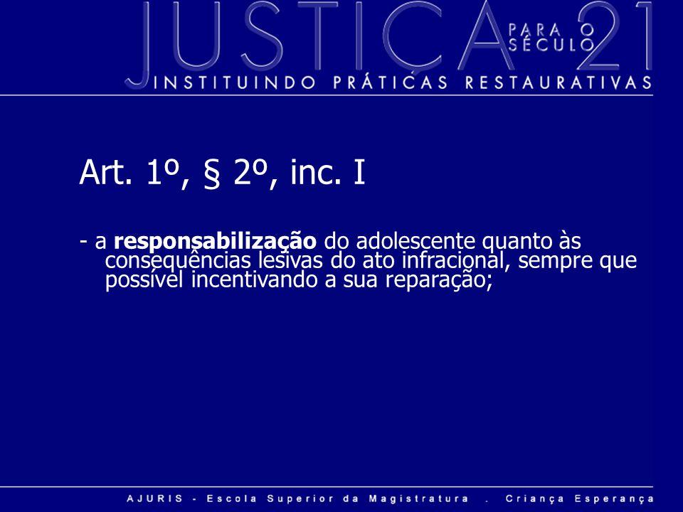 Art. 1º, § 2º, inc. I - a responsabilização do adolescente quanto às consequências lesivas do ato infracional, sempre que possível incentivando a sua