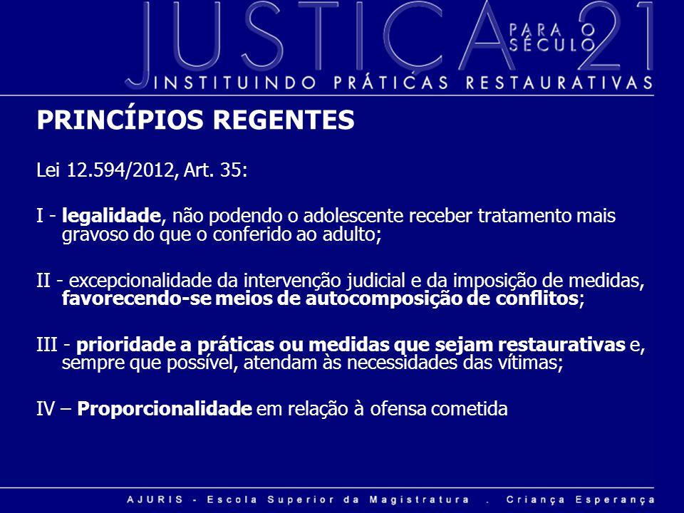 PRINCÍPIOS REGENTES Lei 12.594/2012, Art. 35: I - legalidade, não podendo o adolescente receber tratamento mais gravoso do que o conferido ao adulto;