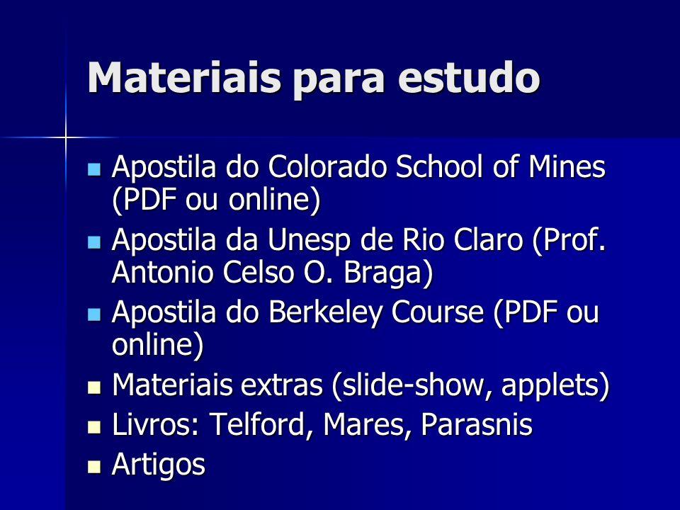Materiais para estudo Apostila do Colorado School of Mines (PDF ou online) Apostila do Colorado School of Mines (PDF ou online) Apostila da Unesp de R