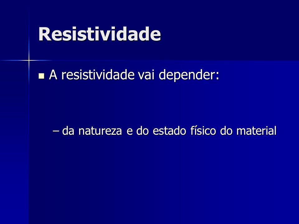 Resistividade A resistividade vai depender: A resistividade vai depender: –da natureza e do estado físico do material