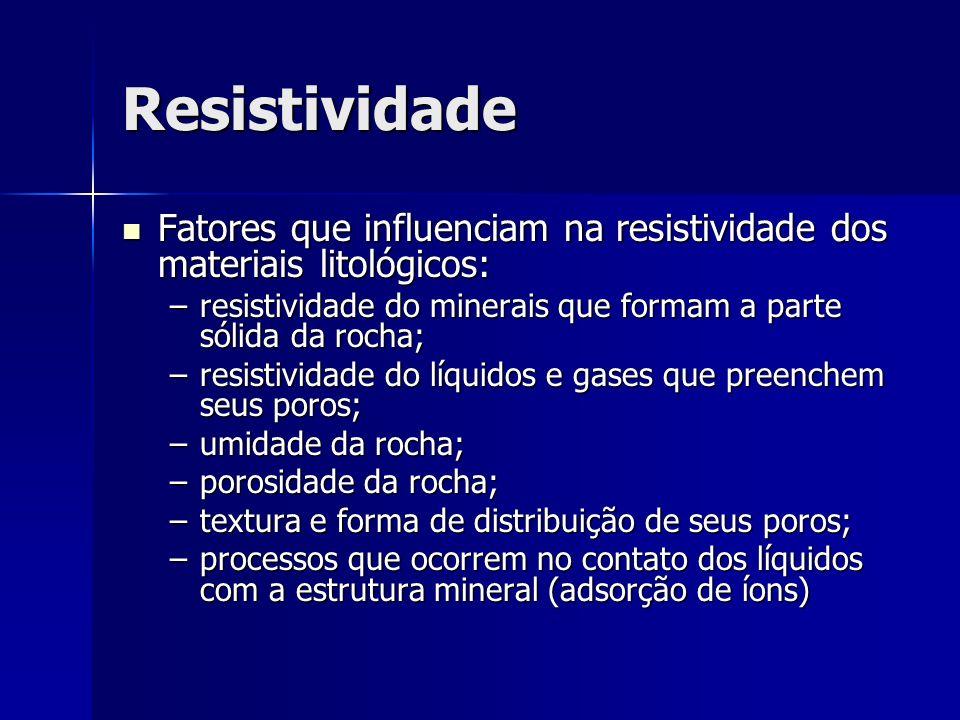 Resistividade Fatores que influenciam na resistividade dos materiais litológicos: Fatores que influenciam na resistividade dos materiais litológicos:
