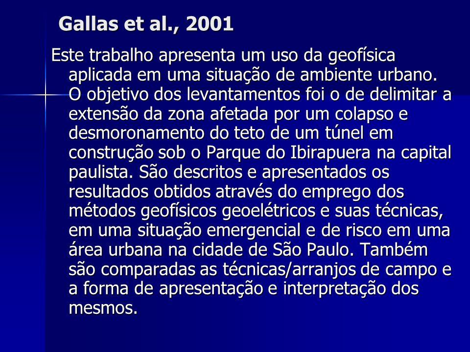 Gallas et al., 2001 Este trabalho apresenta um uso da geofísica aplicada em uma situação de ambiente urbano. O objetivo dos levantamentos foi o de del
