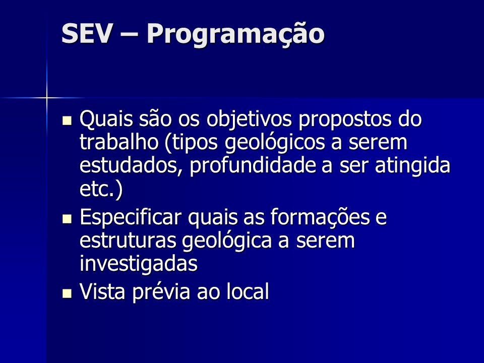SEV – Programação Quais são os objetivos propostos do trabalho (tipos geológicos a serem estudados, profundidade a ser atingida etc.) Quais são os obj