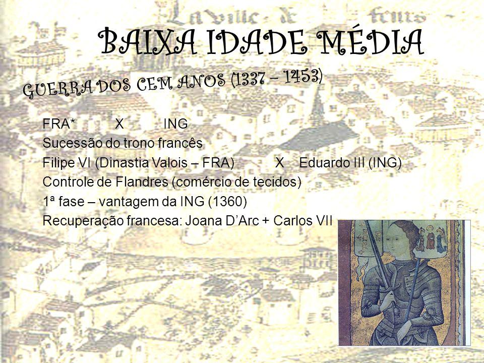 BAIXA IDADE MÉDIA G U E R R A D O S C E M A N O S ( 1 3 3 7 – 1 4 5 3 ) FRA*XING Sucessão do trono francês Filipe VI (Dinastia Valois – FRA) X Eduardo