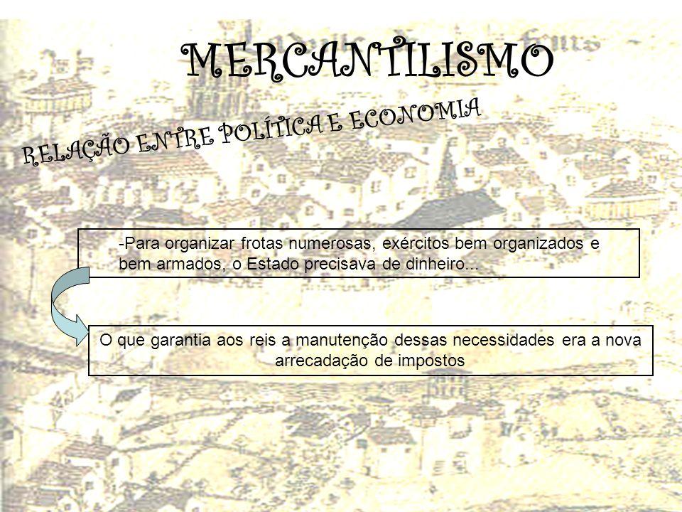 MERCANTILISMO R E L A Ç Ã O E N T R E P O L Í T I C A E E C O N O M I A -Para organizar frotas numerosas, exércitos bem organizados e bem armados, o E