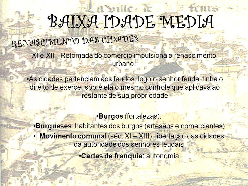 BAIXA IDADE MEDIA R E N A S C I M E N T O D A S C I D A D E S XI e XII - Retomada do comércio impulsiona o renascimento urbano. As cidades pertenciam