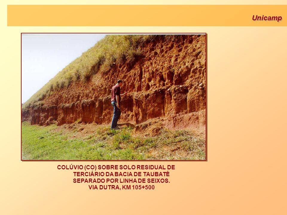 Unicamp COLÚVIO (CO) SOBRE SOLO RESIDUAL DE TERCIÁRIO DA BACIA DE TAUBATÉ SEPARADO POR LINHA DE SEIXOS. VIA DUTRA, KM 105+500