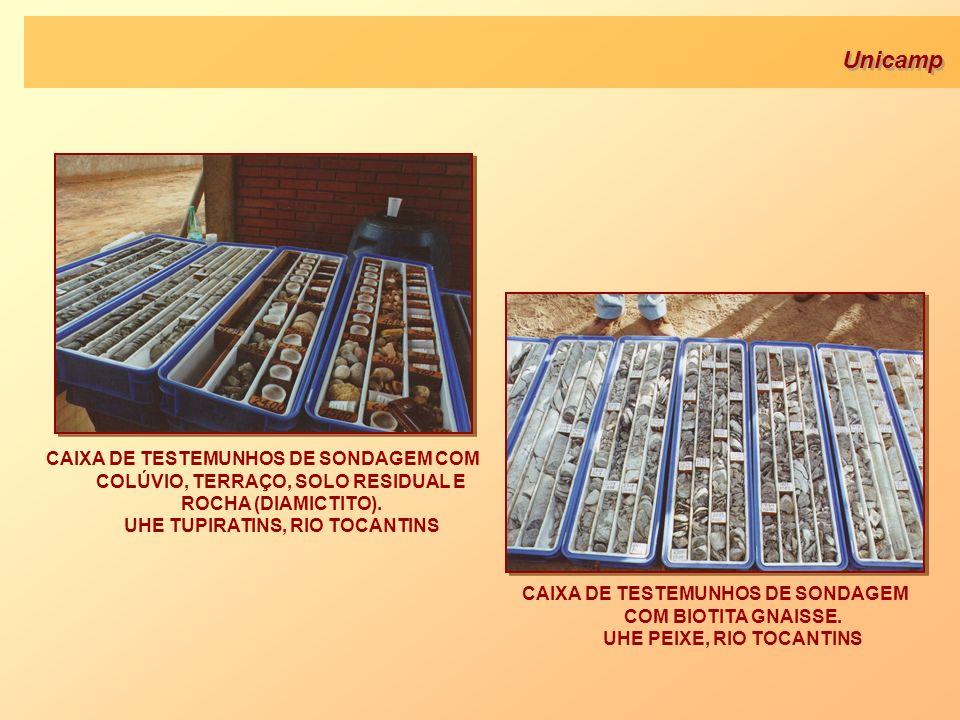 Unicamp CAIXA DE TESTEMUNHOS DE SONDAGEM COM BIOTITA GNAISSE. UHE PEIXE, RIO TOCANTINS CAIXA DE TESTEMUNHOS DE SONDAGEM COM COLÚVIO, TERRAÇO, SOLO RES