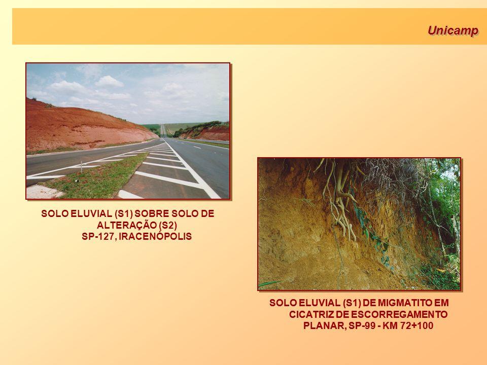 Unicamp SOLO ELUVIAL (S1) DE MIGMATITO EM CICATRIZ DE ESCORREGAMENTO PLANAR, SP-99 - KM 72+100 SOLO ELUVIAL (S1) SOBRE SOLO DE ALTERAÇÃO (S2) SP-127,