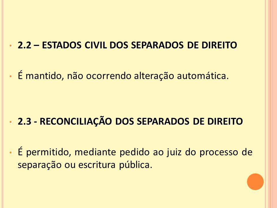 2.2 – ESTADOS CIVIL DOS SEPARADOS DE DIREITO 2.2 – ESTADOS CIVIL DOS SEPARADOS DE DIREITO É mantido, não ocorrendo alteração automática.