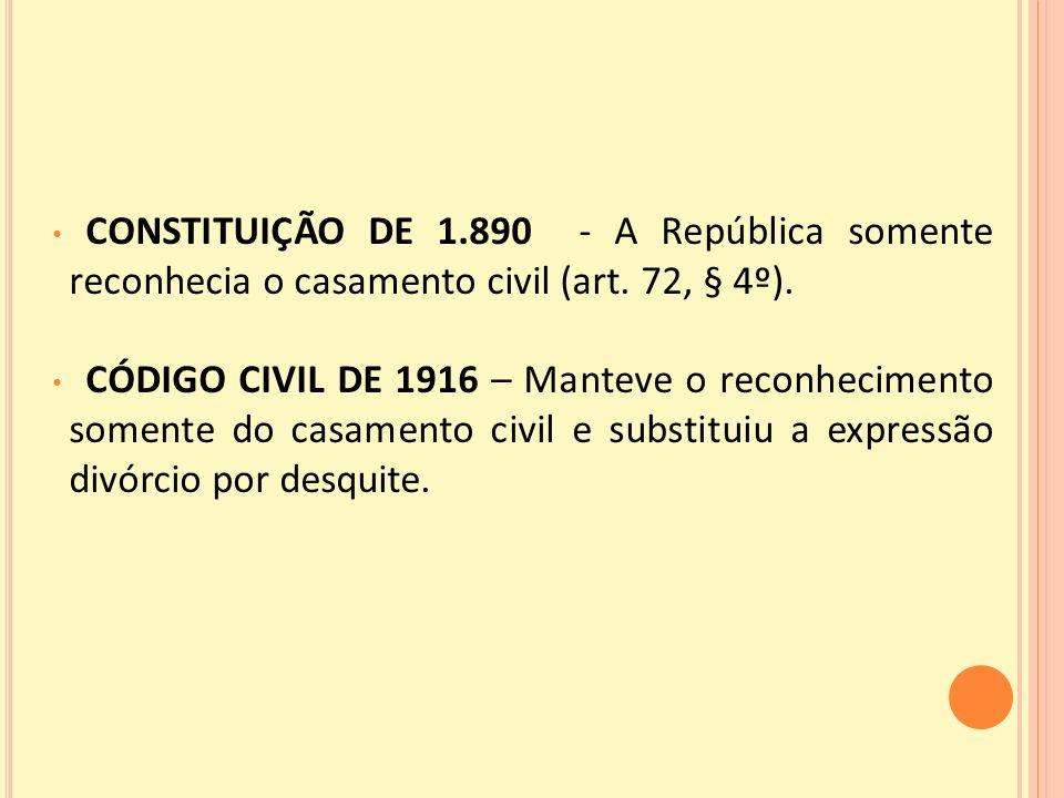 CONSTITUIÇÃO DE 1.890 - A República somente reconhecia o casamento civil (art.