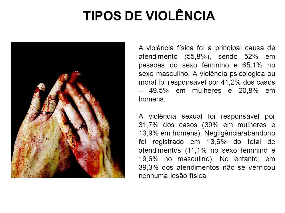 A violência física foi a principal causa de atendimento (55,8%), sendo 52% em pessoas do sexo feminino e 65,1% no sexo masculino. A violência psicológ
