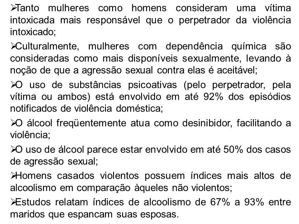 Tanto mulheres como homens consideram uma vítima intoxicada mais responsável que o perpetrador da violência intoxicado; Culturalmente, mulheres com de