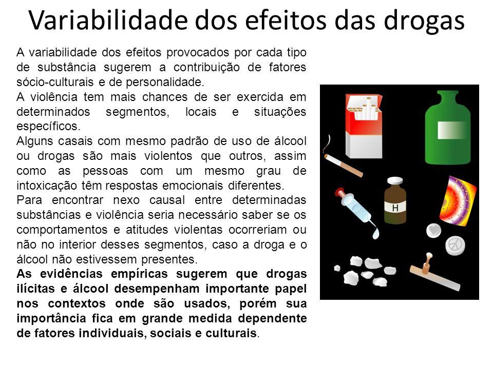 Variabilidade dos efeitos das drogas A variabilidade dos efeitos provocados por cada tipo de substância sugerem a contribuição de fatores sócio-cultur