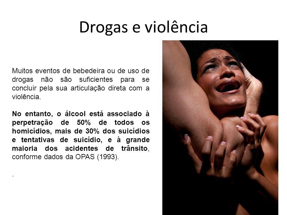 Drogas e violência Muitos eventos de bebedeira ou de uso de drogas não são suficientes para se concluir pela sua articulação direta com a violência. N