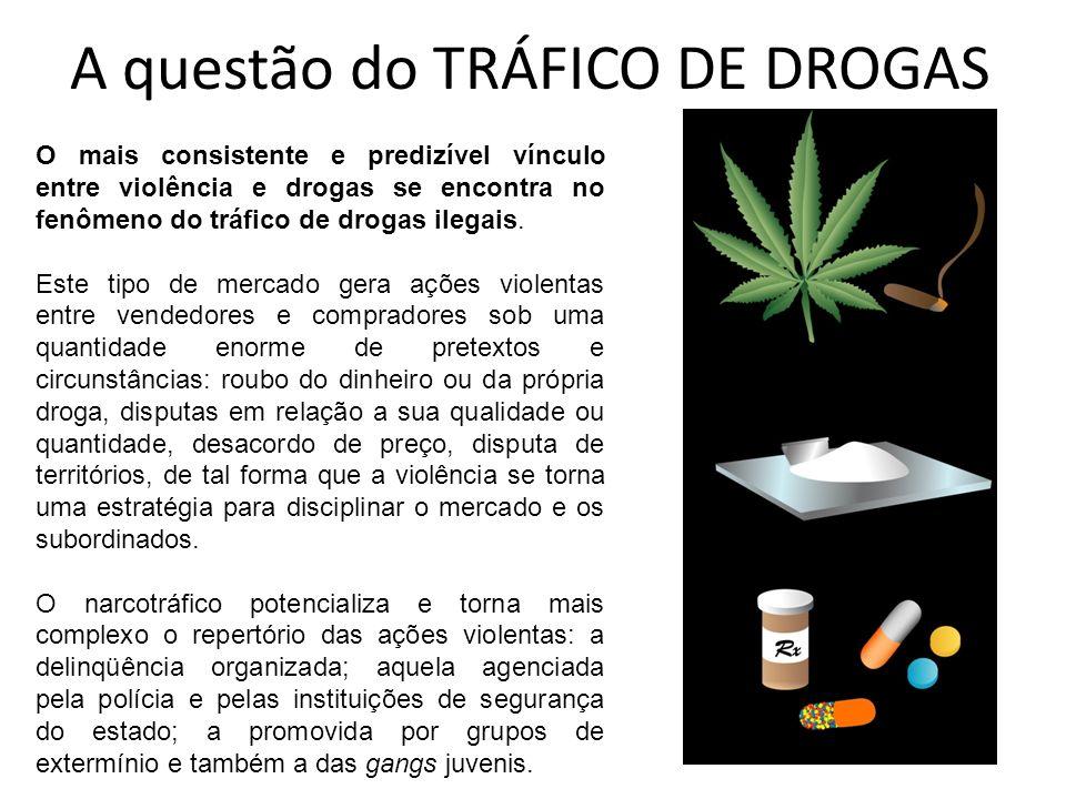 A questão do TRÁFICO DE DROGAS O mais consistente e predizível vínculo entre violência e drogas se encontra no fenômeno do tráfico de drogas ilegais.