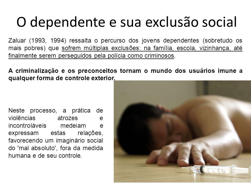 O dependente e sua exclusão social Neste processo, a prática de violências atrozes e incontroláveis medeiam e expressam estas relações, favorecendo um