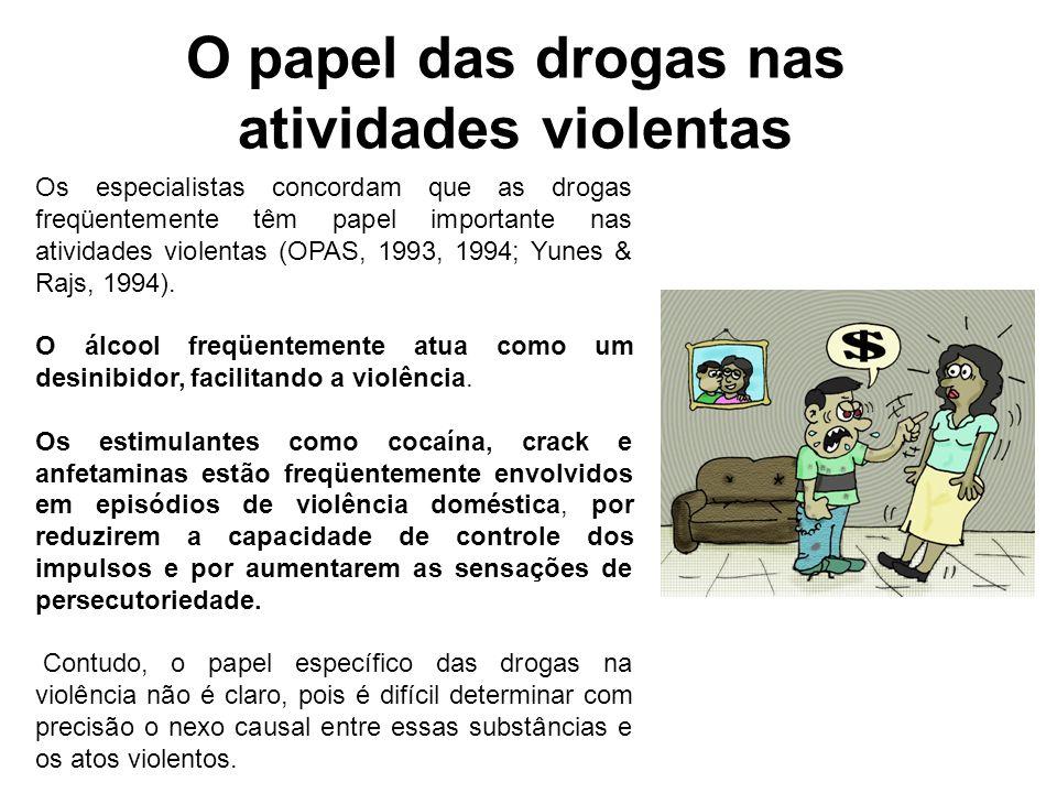 O papel das drogas nas atividades violentas Os especialistas concordam que as drogas freqüentemente têm papel importante nas atividades violentas (OPA