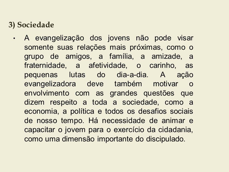 3) Sociedade A evangelização dos jovens não pode visar somente suas relações mais próximas, como o grupo de amigos, a família, a amizade, a fraternida
