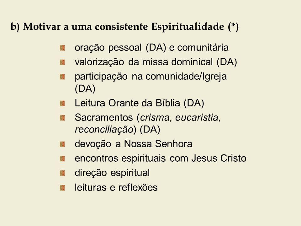 b) Motivar a uma consistente Espiritualidade (*) oração pessoal (DA) e comunitária valorização da missa dominical (DA) participação na comunidade/Igre
