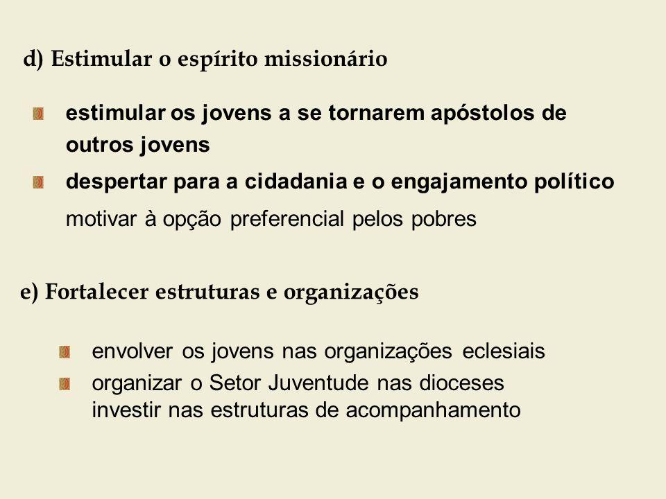 d) Estimular o espírito missionário estimular os jovens a se tornarem apóstolos de outros jovens despertar para a cidadania e o engajamento político m
