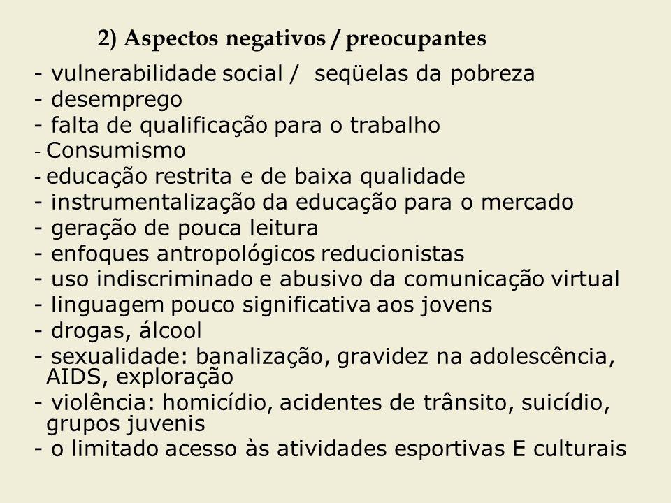 2) Aspectos negativos / preocupantes - vulnerabilidade social / seqüelas da pobreza - desemprego - falta de qualificação para o trabalho - Consumismo
