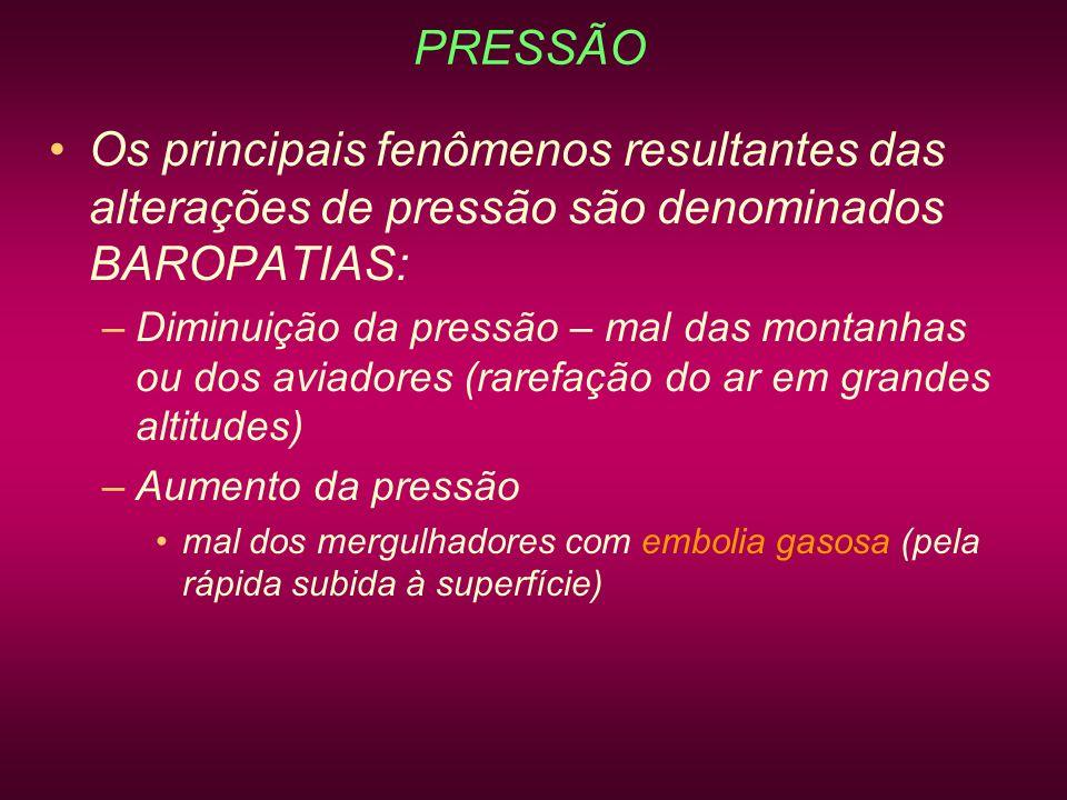 PRESSÃO Os principais fenômenos resultantes das alterações de pressão são denominados BAROPATIAS: –Diminuição da pressão – mal das montanhas ou dos av