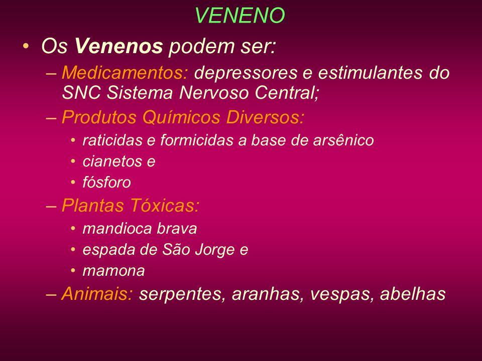 VENENO Os Venenos podem ser: –Medicamentos: depressores e estimulantes do SNC Sistema Nervoso Central; –Produtos Químicos Diversos: raticidas e formic