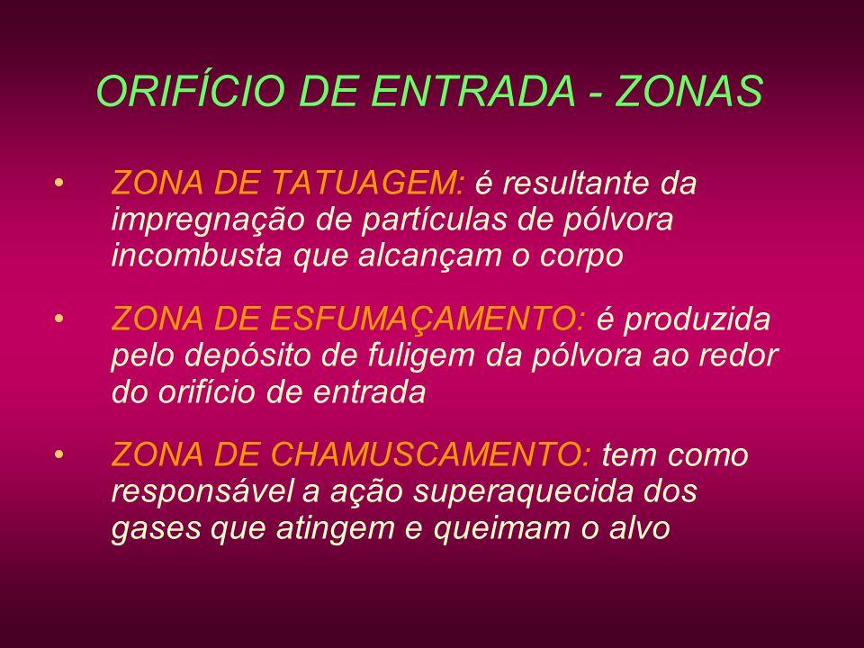 ORIFÍCIO DE ENTRADA - ZONAS ZONA DE TATUAGEM: é resultante da impregnação de partículas de pólvora incombusta que alcançam o corpo ZONA DE ESFUMAÇAMEN