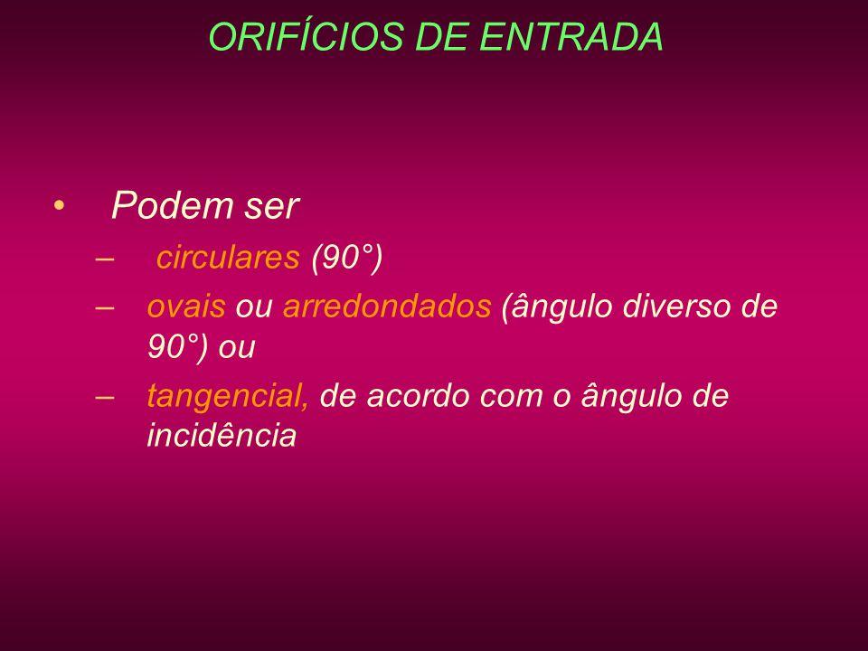 ORIFÍCIOS DE ENTRADA Podem ser – circulares (90°) –ovais ou arredondados (ângulo diverso de 90°) ou –tangencial, de acordo com o ângulo de incidência