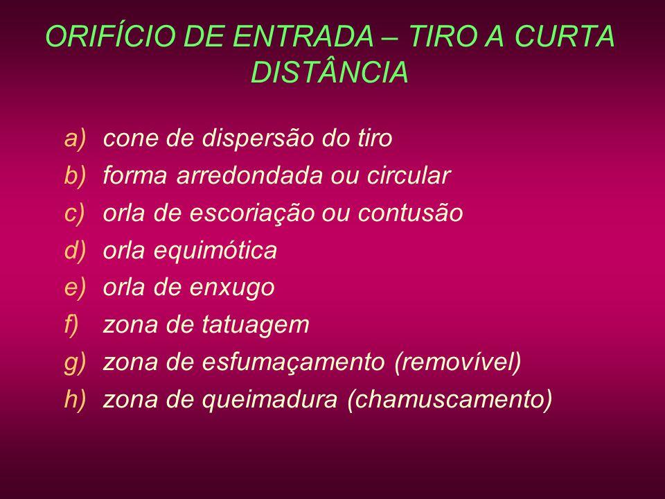ORIFÍCIO DE ENTRADA – TIRO A CURTA DISTÂNCIA a)cone de dispersão do tiro b)forma arredondada ou circular c)orla de escoriação ou contusão d)orla equim