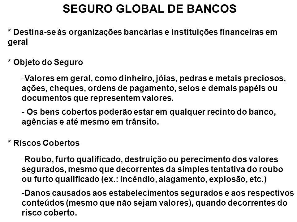 SEGURO GLOBAL DE BANCOS * Destina-se às organizações bancárias e instituições financeiras em geral * Objeto do Seguro -Valores em geral, como dinheiro