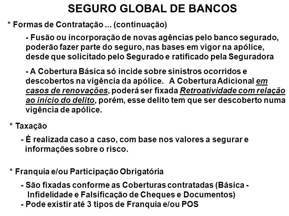 SEGURO GLOBAL DE BANCOS * Formas de Contratação... (continuação) - Fusão ou incorporação de novas agências pelo banco segurado, poderão fazer parte do