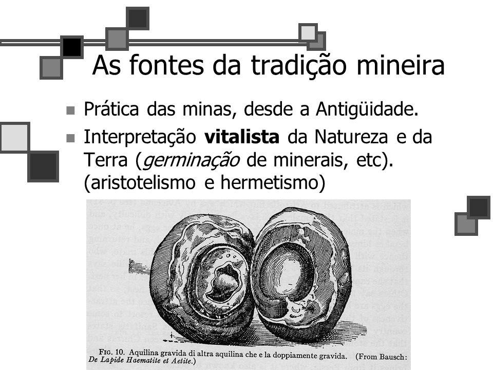 12 As fontes da tradição mineira Prática das minas, desde a Antigüidade. Interpretação vitalista da Natureza e da Terra (germinação de minerais, etc).