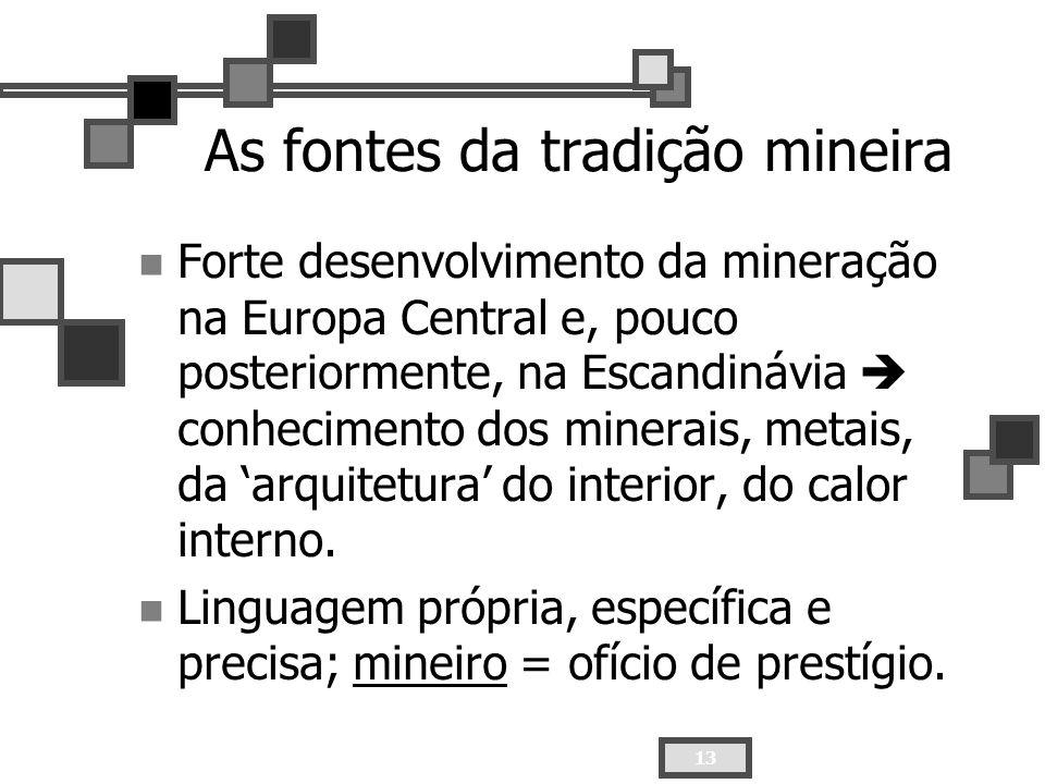 13 As fontes da tradição mineira Forte desenvolvimento da mineração na Europa Central e, pouco posteriormente, na Escandinávia conhecimento dos minera