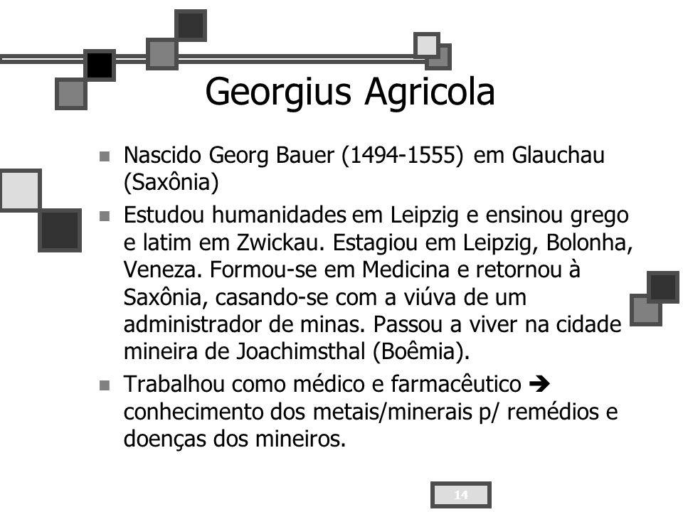 14 Georgius Agricola Nascido Georg Bauer (1494-1555) em Glauchau (Saxônia) Estudou humanidades em Leipzig e ensinou grego e latim em Zwickau. Estagiou