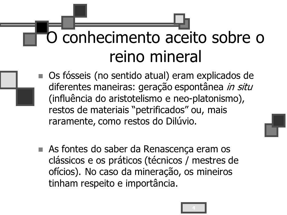4 O conhecimento aceito sobre o reino mineral Os fósseis (no sentido atual) eram explicados de diferentes maneiras: geração espontânea in situ (influê