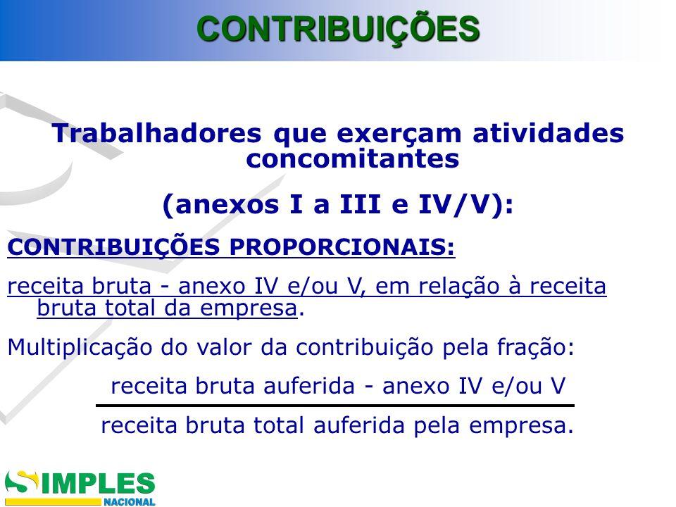 Trabalhadores que exerçam atividades concomitantes (anexos I a III e IV/V): CONTRIBUIÇÕES PROPORCIONAIS: receita bruta - anexo IV e/ou V, em relação à