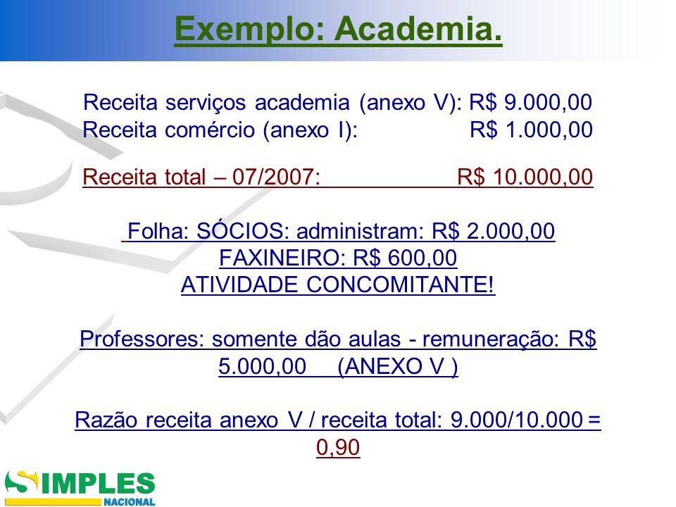 Exemplo: Academia. Receita serviços academia (anexo V): R$ 9.000,00 Receita comércio (anexo I): R$ 1.000,00 Receita total – 07/2007: R$ 10.000,00 Folh